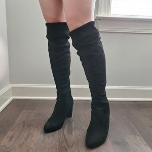 Adrienne Vittadini Over the Knee Suede Boots Black
